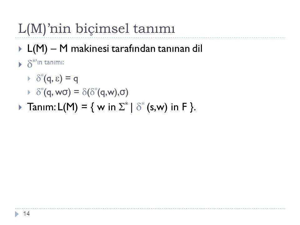 L(M)'nin biçimsel tanımı 14  L(M) – M makinesi tarafından tanınan dil   *'ın tanımı:   * (q,  ) = q   * (q, w σ ) =  (  * (q,w), σ )  Tanım: L(M) = { w in  * |  * (s,w) in F }.