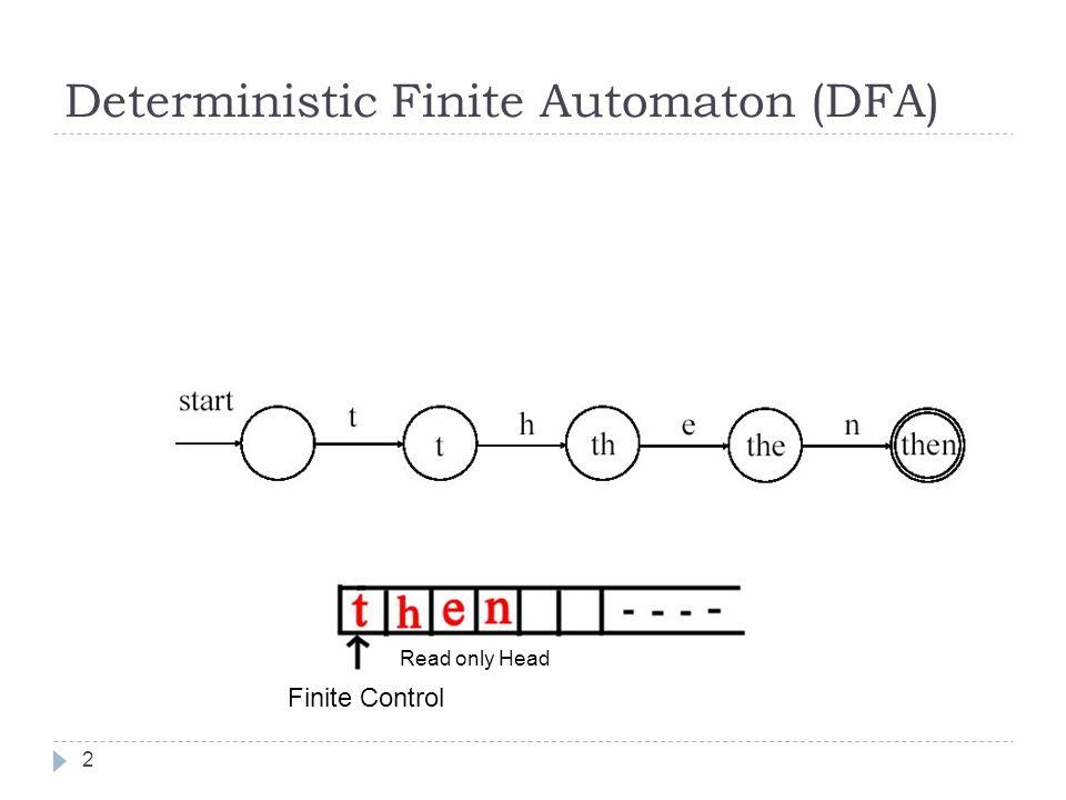 DFA 3  Bir DFA şu beşliden oluşur:  Sonlu sayıda elemana sahip durumlar kümesi  1 adet başlangıç durumu (özel durum-initial state)  Kabul durumları kümesi (0 yada daha fazlasayıda)  Giriş simgelerinden oluşan ve sonlu sayıda elemanlı alfabe (input alphabet)  Geçiş tablosu (Durum, simge) -> sonraki durum