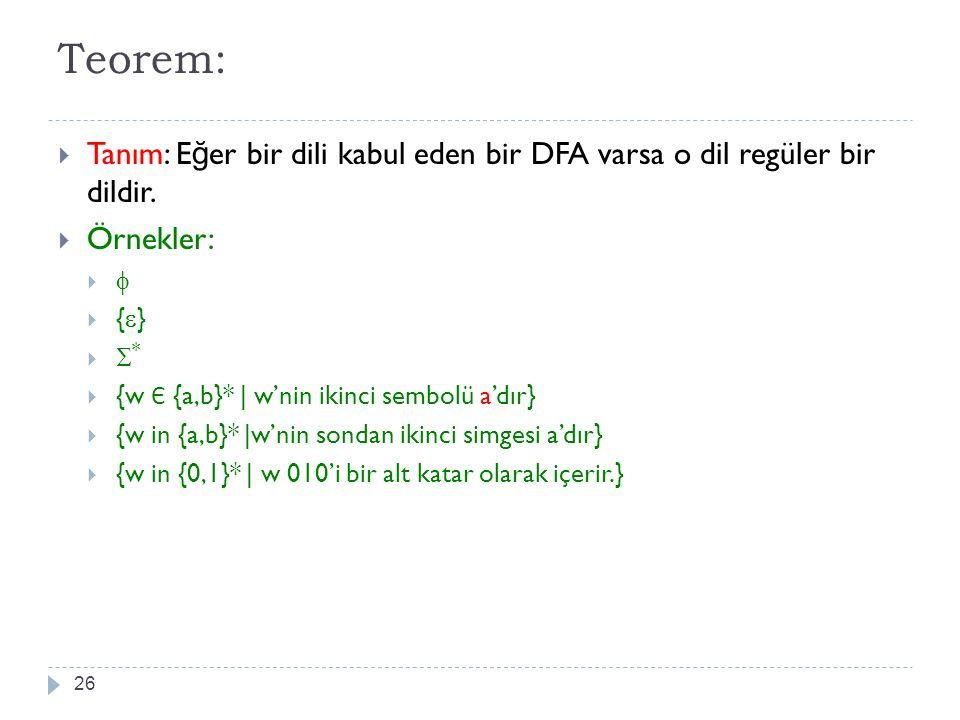 Teorem: 26  Tanım: E ğ er bir dili kabul eden bir DFA varsa o dil regüler bir dildir.  Örnekler:    {  }   *  {w Є {a,b}*   w'nin ikinci semb