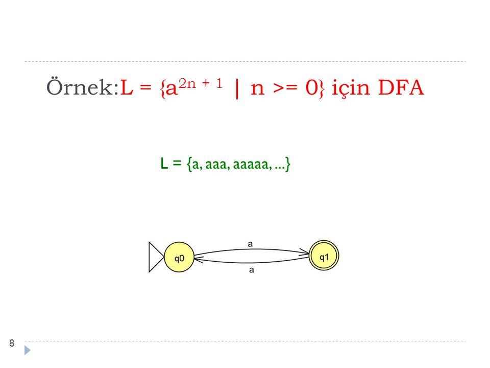 Örnek:L = {a 2n + 1 | n >= 0} için DFA L = {a, aaa, aaaaa,...} 8