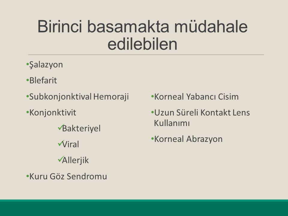 Birinci basamakta müdahale edilebilen Şalazyon Blefarit Subkonjonktival Hemoraji Konjonktivit Bakteriyel Viral Allerjik Kuru Göz Sendromu Korneal Yabancı Cisim Uzun Süreli Kontakt Lens Kullanımı Korneal Abrazyon