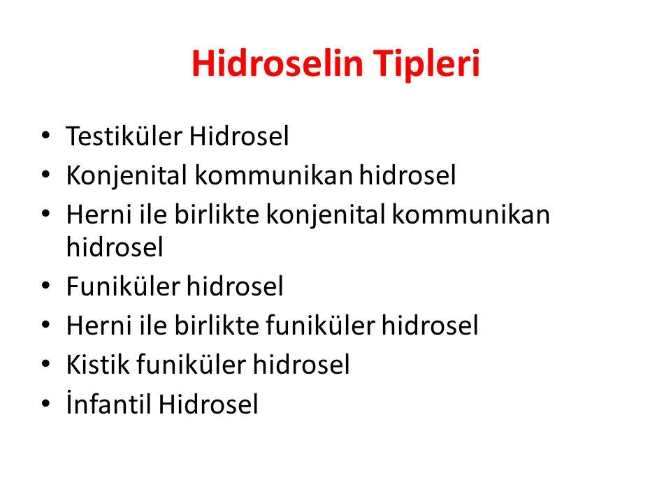 Hidroselin Tipleri Testiküler Hidrosel Konjenital kommunikan hidrosel Herni ile birlikte konjenital kommunikan hidrosel Funiküler hidrosel Herni ile b