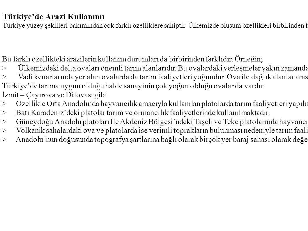Türkiye'de Arazi Kullanımı Türkiye yüzey şekilleri bakımından çok farklı özelliklere sahiptir. Ülkemizde oluşum özellikleri birbirinden farklı ova ve