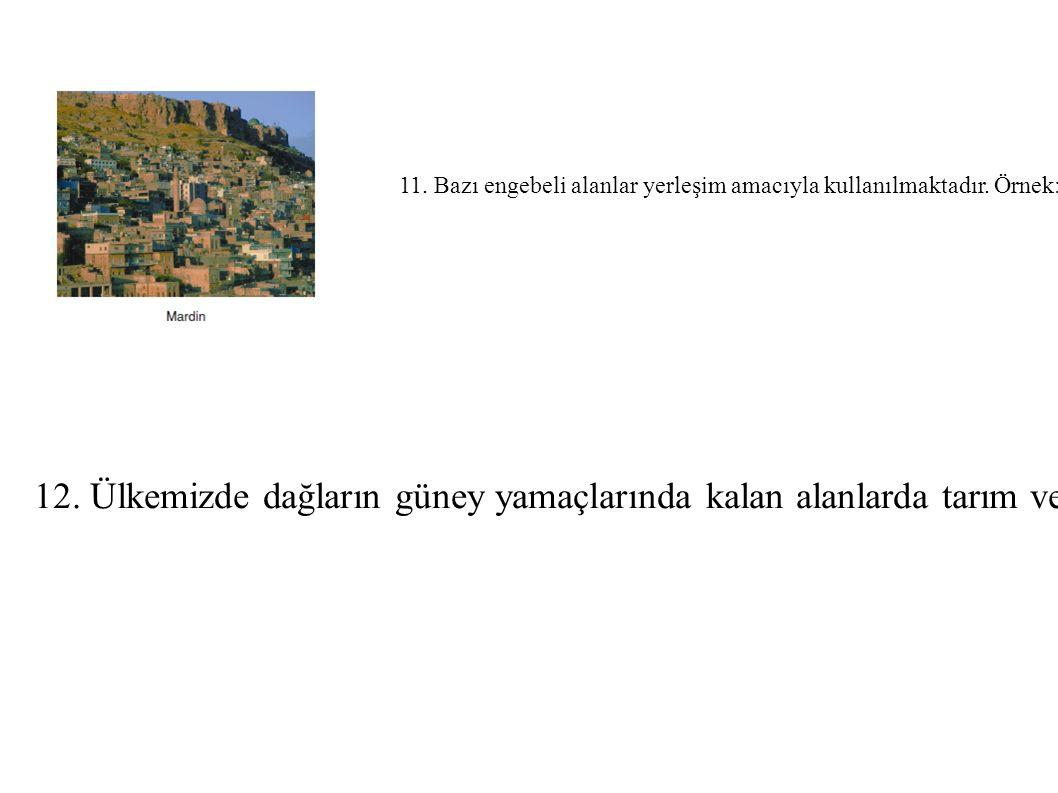 11. Bazı engebeli alanlar yerleşim amacıyla kullanılmaktadır. Örnek: Mardin, Ankara. 12. Ülkemizde dağların güney yamaçlarında kalan alanlarda tarım v