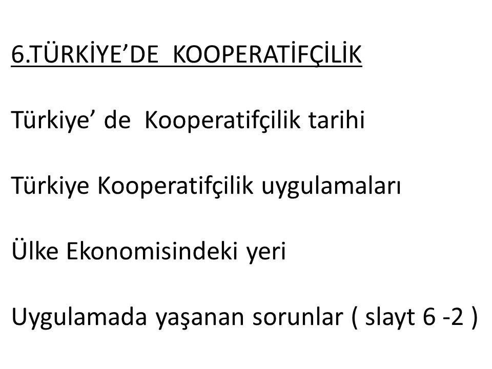6.TÜRKİYE'DE KOOPERATİFÇİLİK Türkiye' de Kooperatifçilik tarihi Türkiye Kooperatifçilik uygulamaları Ülke Ekonomisindeki yeri Uygulamada yaşanan sorun