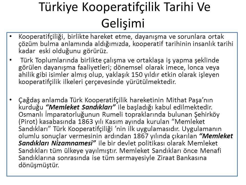 Türkiye Kooperatifçilik Tarihi Ve Gelişimi Kooperatifçiliği, birlikte hareket etme, dayanışma ve sorunlara ortak çözüm bulma anlamında aldığımızda, ko