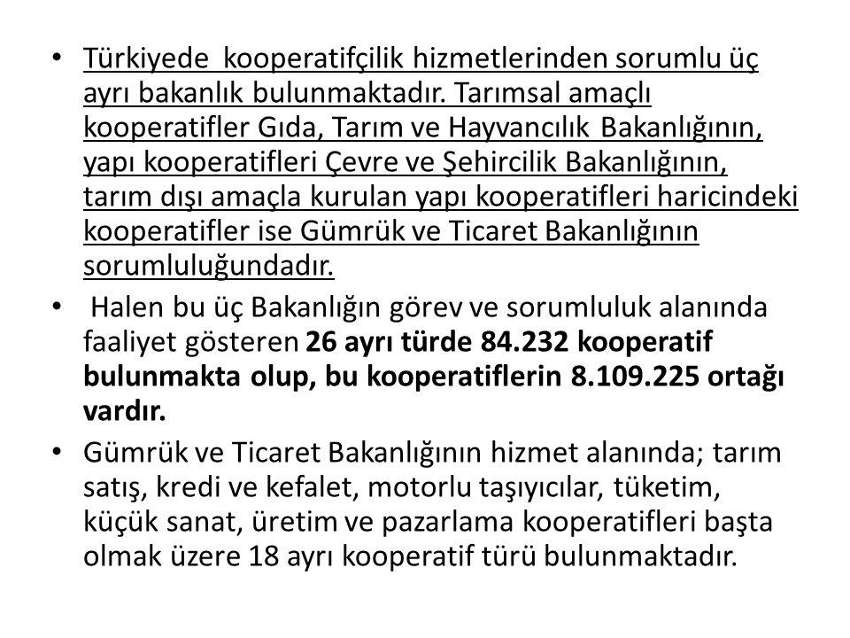 Türkiyede kooperatifçilik hizmetlerinden sorumlu üç ayrı bakanlık bulunmaktadır. Tarımsal amaçlı kooperatifler Gıda, Tarım ve Hayvancılık Bakanlığının