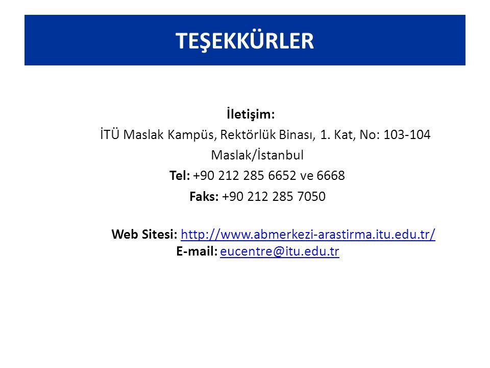 TEŞEKKÜRLER İletişim: İTÜ Maslak Kampüs, Rektörlük Binası, 1. Kat, No: 103-104 Maslak/İstanbul Tel: +90 212 285 6652 ve 6668 Faks: +90 212 285 7050 We