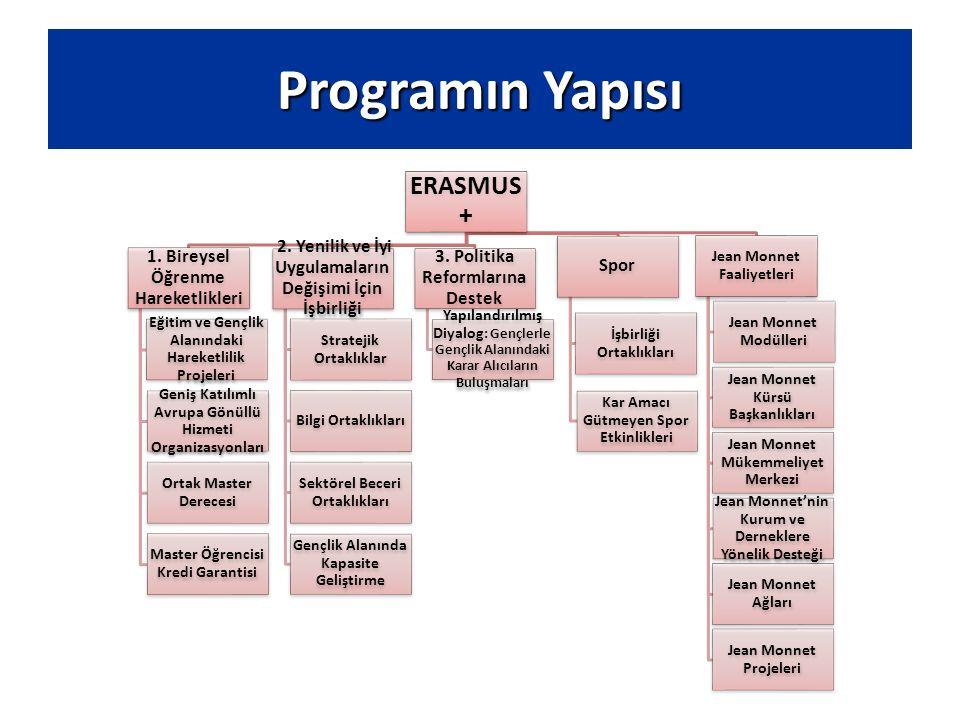 Programın Yapısı ERASMUS + 1. Bireysel Öğrenme Hareketlikleri Eğitim ve Gençlik Alanındaki Hareketlilik Projeleri Geniş Katılımlı Avrupa Gönüllü Hizme