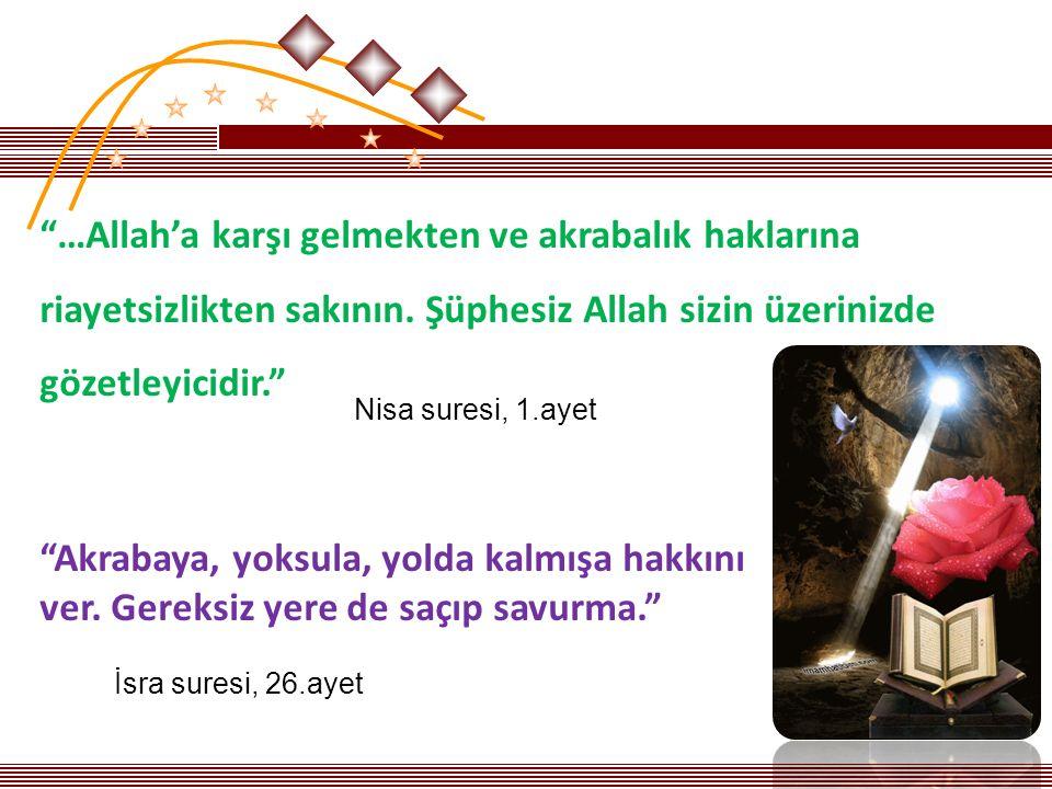 …Allah'a karşı gelmekten ve akrabalık haklarına riayetsizlikten sakının.