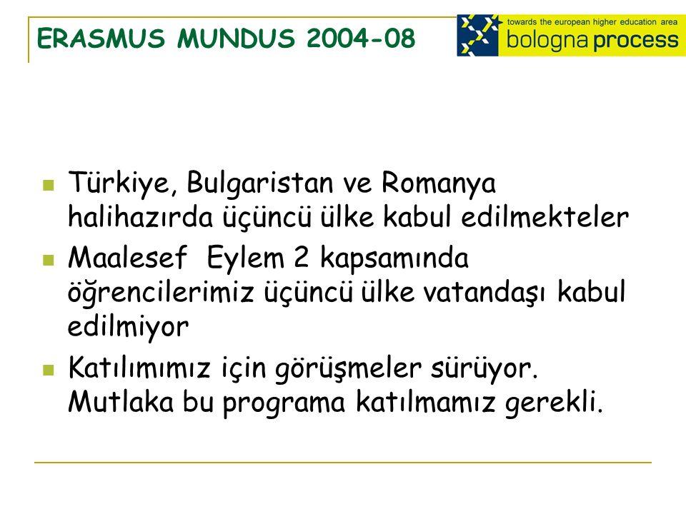 ERASMUS MUNDUS 2004-08 Türkiye, Bulgaristan ve Romanya halihazırda üçüncü ülke kabul edilmekteler Maalesef Eylem 2 kapsamında öğrencilerimiz üçüncü ülke vatandaşı kabul edilmiyor Katılımımız için görüşmeler sürüyor.