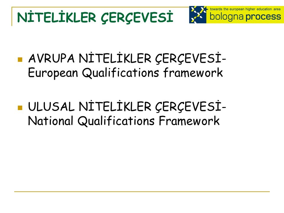 NİTELİKLER ÇERÇEVESİ AVRUPA NİTELİKLER ÇERÇEVESİ- European Qualifications framework ULUSAL NİTELİKLER ÇERÇEVESİ- National Qualifications Framework