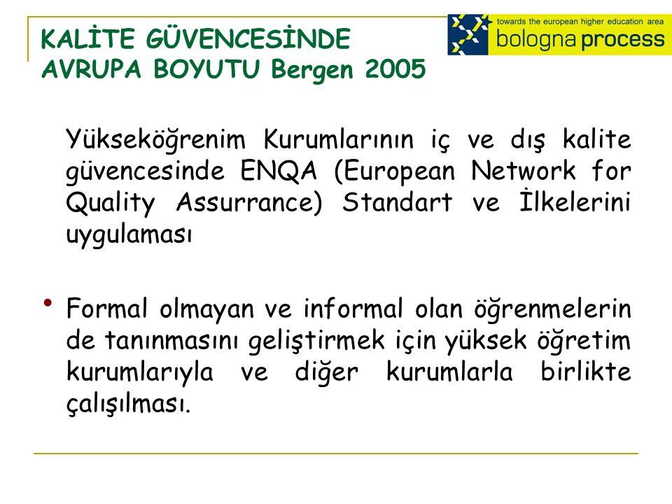 KALİTE GÜVENCESİNDE AVRUPA BOYUTU Bergen 2005 Yükseköğrenim Kurumlarının iç ve dış kalite güvencesinde ENQA (European Network for Quality Assurrance) Standart ve İlkelerini uygulaması Formal olmayan ve informal olan öğrenmelerin de tanınmasını geliştirmek için yüksek öğretim kurumlarıyla ve diğer kurumlarla birlikte çalışılması.