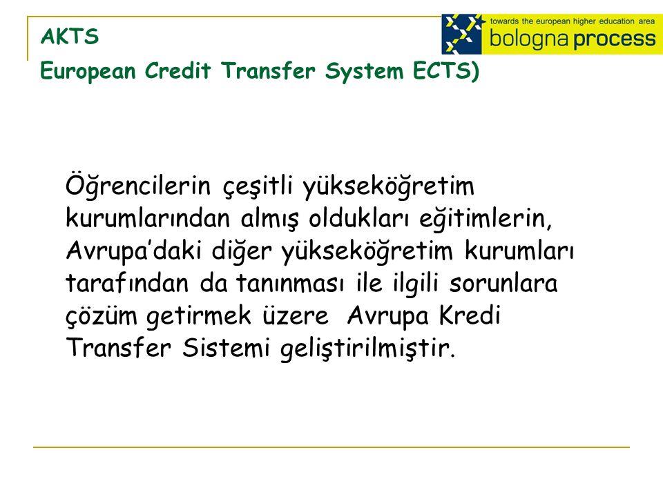 AKTS European Credit Transfer System ECTS) Öğrencilerin çeşitli yükseköğretim kurumlarından almış oldukları eğitimlerin, Avrupa'daki diğer yükseköğretim kurumları tarafından da tanınması ile ilgili sorunlara çözüm getirmek üzere Avrupa Kredi Transfer Sistemi geliştirilmiştir.