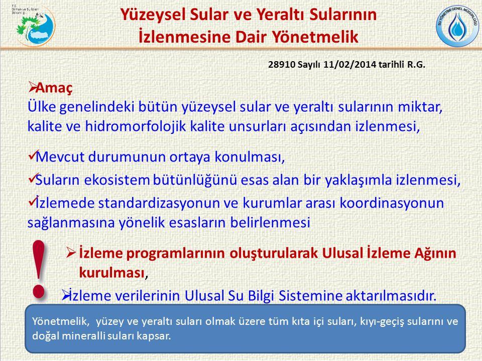Yüzeysel Sular ve Yeraltı Sularının İzlenmesine Dair Yönetmelik 28910 Sayılı 11/02/2014 tarihli R.G.