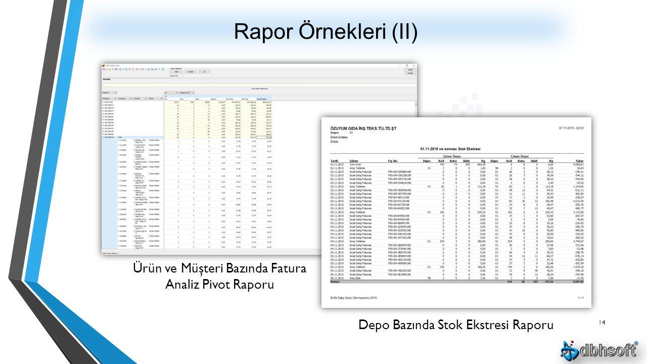 Rapor Örnekleri (II) 14 Depo Bazında Stok Ekstresi Raporu Ürün ve Müşteri Bazında Fatura Analiz Pivot Raporu