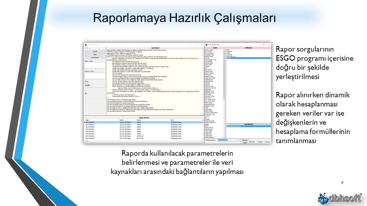 Raporlamaya Hazırlık Çalışmaları 8 Raporda kullanılacak parametrelerin belirlenmesi ve parametreler ile veri kaynakları arasındaki ba ğ lantıların yapılması Rapor sorgularının ESGO programı içerisine do ğ ru bir şekilde yerleştirilmesi Rapor alınırken dinamik olarak hesaplanması gereken veriler var ise de ğ işkenlerin ve hesaplama formüllerinin tanımlanması