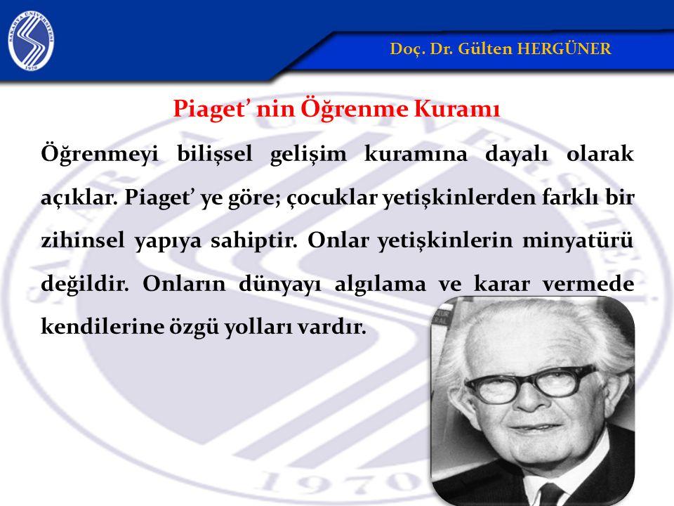 Piaget' nin Öğrenme Kuramı Öğrenmeyi bilişsel gelişim kuramına dayalı olarak açıklar.