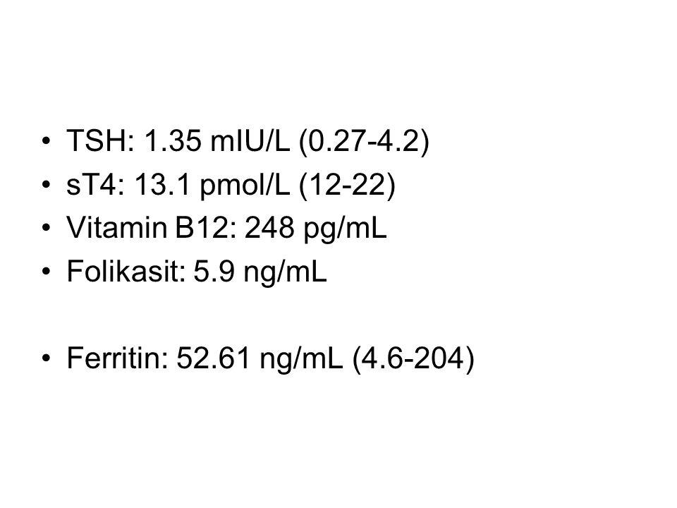 Tam İdrar Tetkiki: –Dansite: 1022 –Protein: (+) –Glukoz (-) –Bilirubin (-) –Ürobilin (-) –Sediment: 106 lökosit, 5 eritrosit, 5 hyalin silendir, 5 granüle silendir EKG: Normal sinüs ritmi, normal aks