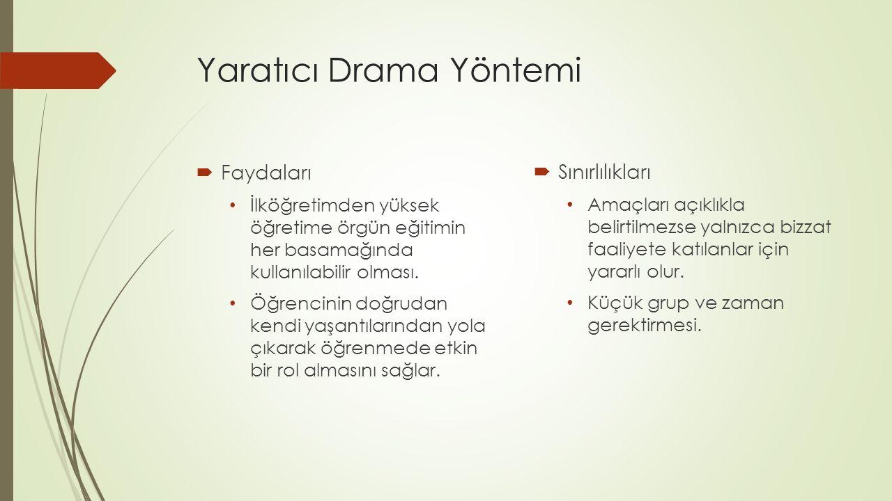 Yaratıcı Drama Yöntemi  Faydaları İlköğretimden yüksek öğretime örgün eğitimin her basamağında kullanılabilir olması.