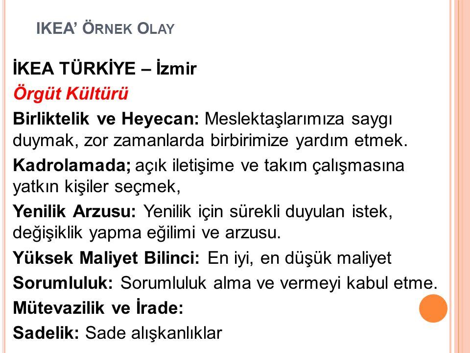 IKEA' Ö RNEK O LAY İKEA TÜRKİYE – İzmir Örgüt Kültürü Birliktelik ve Heyecan: Meslektaşlarımıza saygı duymak, zor zamanlarda birbirimize yardım etmek.