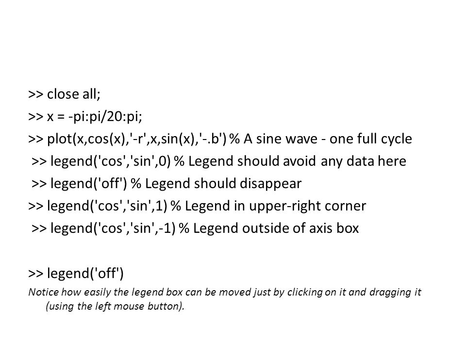 >> close all; >> x = -pi:pi/20:pi; >> plot(x,cos(x), -r ,x,sin(x), -.b ) % A sine wave - one full cycle >> legend( cos , sin ,0) % Legend should avoid any data here >> legend( off ) % Legend should disappear >> legend( cos , sin ,1) % Legend in upper-right corner >> legend( cos , sin ,-1) % Legend outside of axis box >> legend( off ) Notice how easily the legend box can be moved just by clicking on it and dragging it (using the left mouse button).