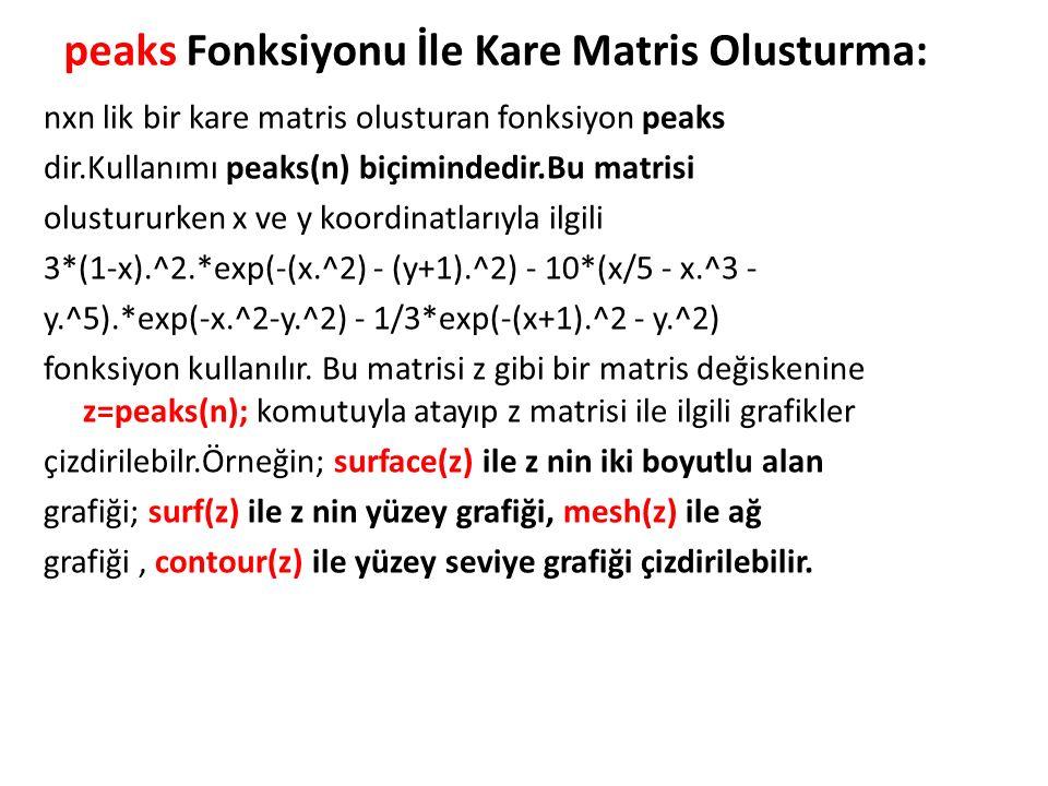 peaks Fonksiyonu İle Kare Matris Olusturma: nxn lik bir kare matris olusturan fonksiyon peaks dir.Kullanımı peaks(n) biçimindedir.Bu matrisi olustururken x ve y koordinatlarıyla ilgili 3*(1-x).^2.*exp(-(x.^2) - (y+1).^2) - 10*(x/5 - x.^3 - y.^5).*exp(-x.^2-y.^2) - 1/3*exp(-(x+1).^2 - y.^2) fonksiyon kullanılır.