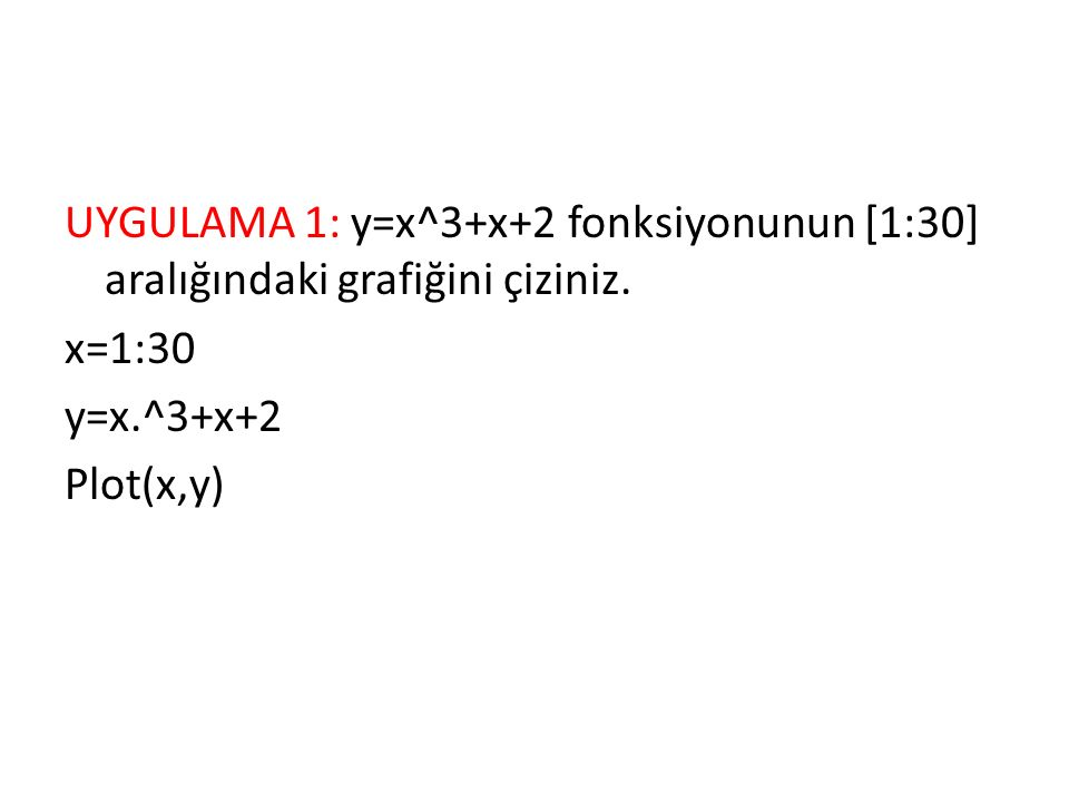 UYGULAMA-4 xOy düzleminde; yatay olarak, [0..