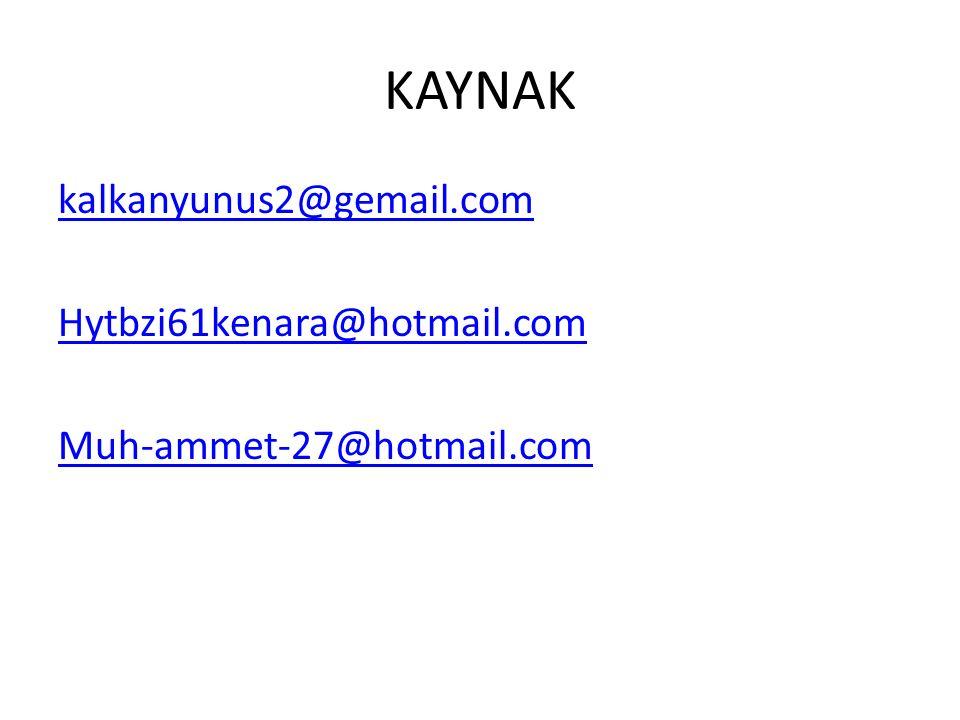 KAYNAK kalkanyunus2@gemail.com Hytbzi61kenara@hotmail.com Muh-ammet-27@hotmail.com