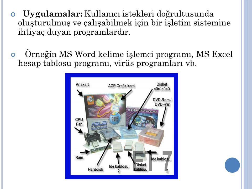 Uygulamalar: Kullanıcı istekleri doğrultusunda oluşturulmuş ve çalışabilmek için bir işletim sistemine ihtiyaç duyan programlardır. Örneğin MS Word ke