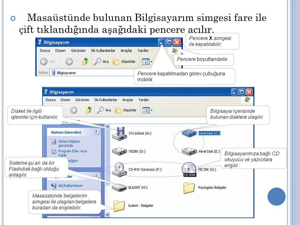Masaüstünde bulunan Bilgisayarım simgesi fare ile çift tıklandığında aşağıdaki pencere açılır. Bilgisayar içerisinde bulunan disklere ulaşılır. Bilgis