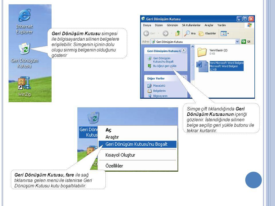 Geri Dönüşüm Kutusu simgesi ile bilgisayardan silinen belgelere erişilebilir. Simgenin içinin dolu oluşu sinmiş belgenin olduğunu gösterir Geri Dönüşü