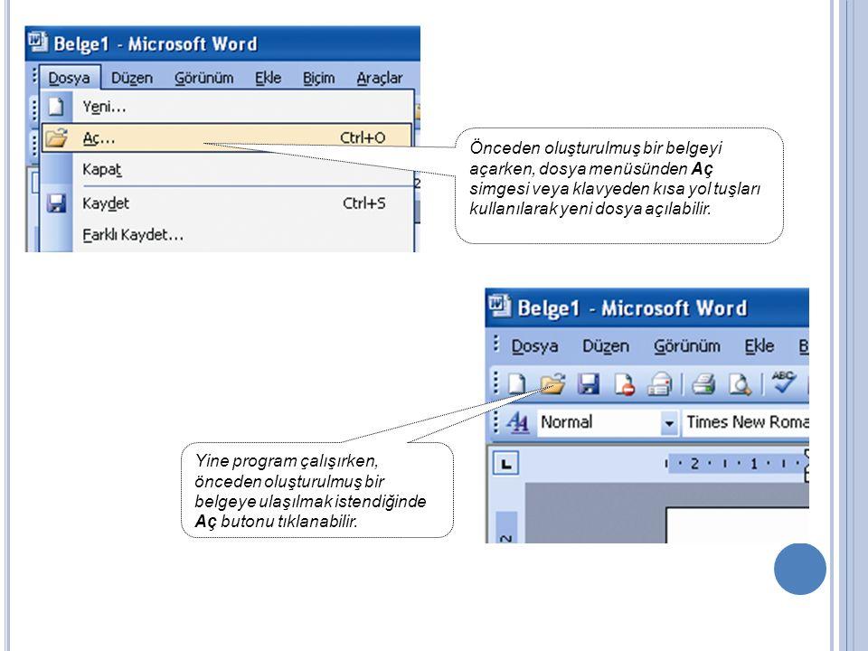 Önceden oluşturulmuş bir belgeyi açarken, dosya menüsünden Aç simgesi veya klavyeden kısa yol tuşları kullanılarak yeni dosya açılabilir. Yine program