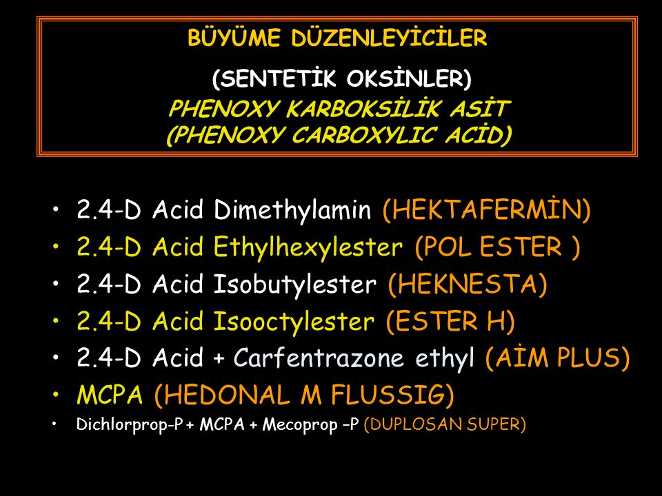 BÜYÜME DÜZENLEYİCİLER (SENTETİK OKSİNLER) PHENOXY KARBOKSİLİK ASİT (PHENOXY CARBOXYLIC ACİD) 2.4-D Acid Dimethylamin (HEKTAFERMİN) 2.4-D Acid Ethylhexylester (POL ESTER ) 2.4-D Acid Isobutylester (HEKNESTA) 2.4-D Acid Isooctylester (ESTER H) 2.4-D Acid + Carfentrazone ethyl (AİM PLUS) MCPA (HEDONAL M FLUSSIG) Dichlorprop-P + MCPA + Mecoprop –P (DUPLOSAN SUPER)