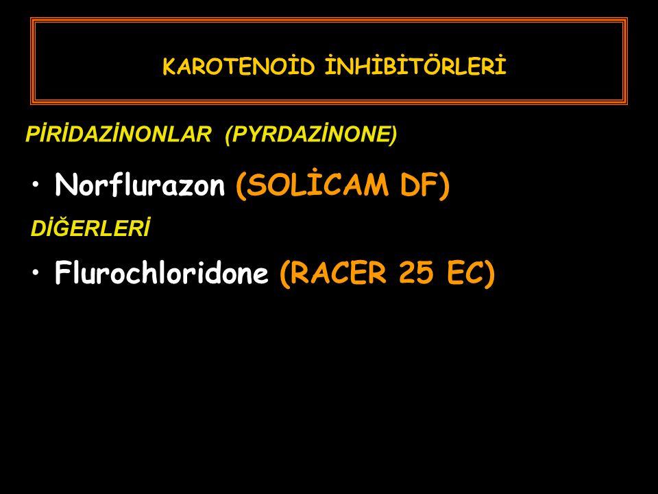 KAROTENOİD İNHİBİTÖRLERİ Norflurazon (SOLİCAM DF) PİRİDAZİNONLAR (PYRDAZİNONE) DİĞERLERİ Flurochloridone (RACER 25 EC)