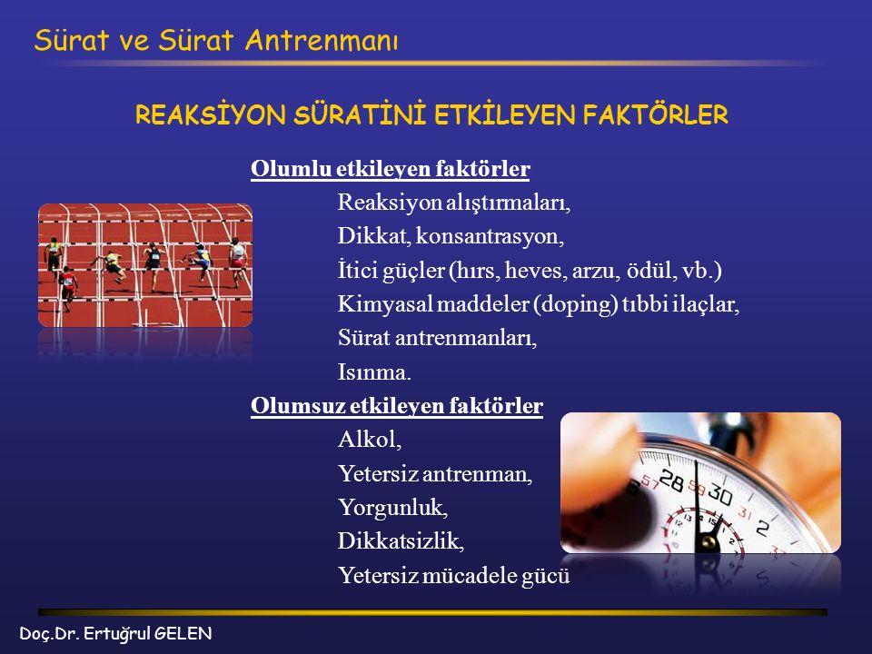 Doç.Dr. Ertuğrul GELEN Sürat ve Sürat Antrenmanı Olumlu etkileyen faktörler Reaksiyon alıştırmaları, Dikkat, konsantrasyon, İtici güçler (hırs, heves,