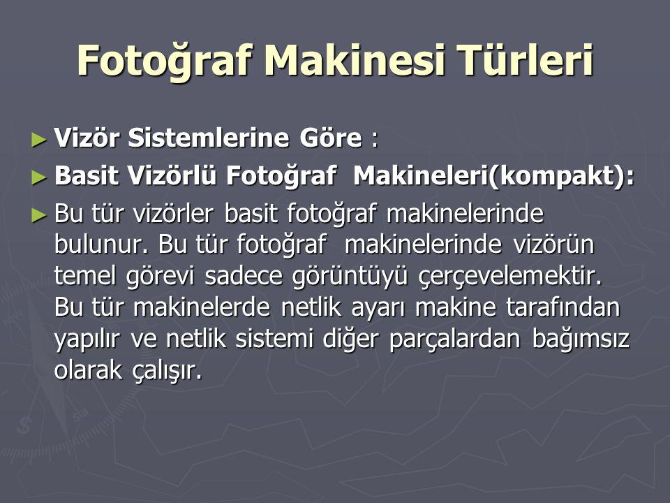 Fotoğraf Makinesi Türleri ► Vizör Sistemlerine Göre : ► Basit Vizörlü Fotoğraf Makineleri(kompakt): ► Bu tür vizörler basit fotoğraf makinelerinde bul
