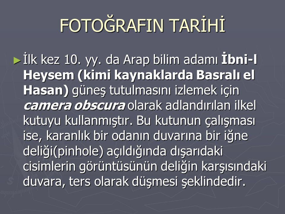 FOTOĞRAFIN TARİHİ ► İlk kez 10. yy. da Arap bilim adamı İbni-l Heysem (kimi kaynaklarda Basralı el Hasan) güneş tutulmasını izlemek için camera obscur