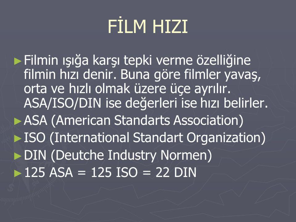 ► ► Filmin ışığa karşı tepki verme özelliğine filmin hızı denir. Buna göre filmler yavaş, orta ve hızlı olmak üzere üçe ayrılır. ASA/ISO/DIN ise değer
