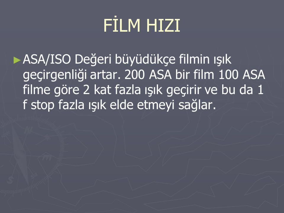FİLM HIZI ► ► ASA/ISO Değeri büyüdükçe filmin ışık geçirgenliği artar. 200 ASA bir film 100 ASA filme göre 2 kat fazla ışık geçirir ve bu da 1 f stop