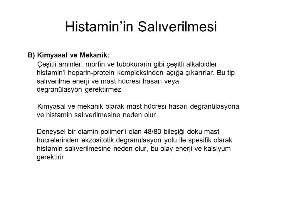 Histamin'in Salıverilmesi B) Kimyasal ve Mekanik: Çeşitli aminler, morfin ve tubokürarin gibi çeşitli alkaloidler histamin'i heparin-protein kompleksi