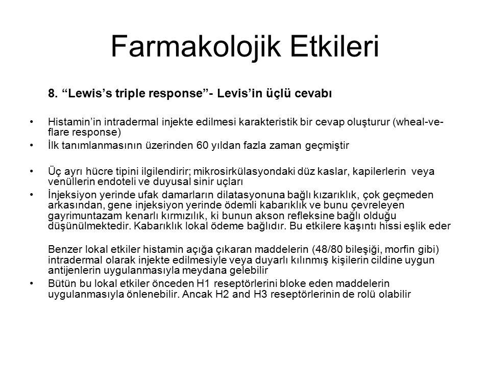 """Farmakolojik Etkileri 8. """"Lewis's triple response""""- Levis'in üçlü cevabı Histamin'in intradermal injekte edilmesi karakteristik bir cevap oluşturur (w"""