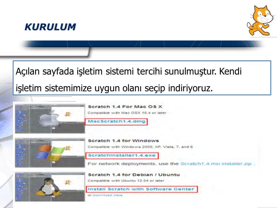 KURULUM Açılan sayfada işletim sistemi tercihi sunulmuştur.