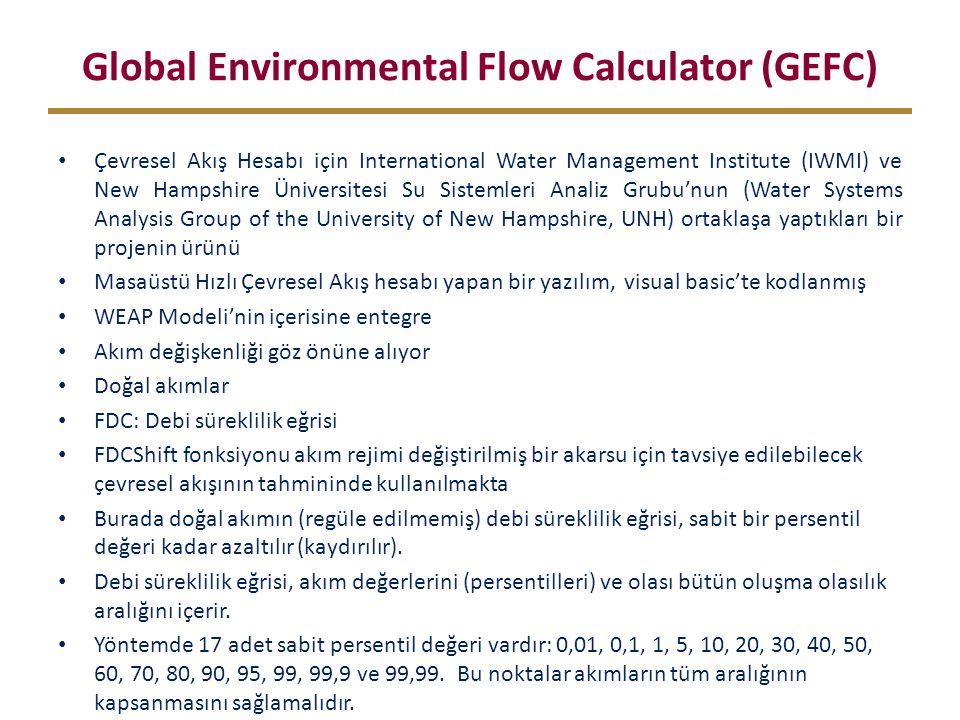 Global Environmental Flow Calculator (GEFC) Çevresel Akış Hesabı için International Water Management Institute (IWMI) ve New Hampshire Üniversitesi Su Sistemleri Analiz Grubu'nun (Water Systems Analysis Group of the University of New Hampshire, UNH) ortaklaşa yaptıkları bir projenin ürünü Masaüstü Hızlı Çevresel Akış hesabı yapan bir yazılım, visual basic'te kodlanmış WEAP Modeli'nin içerisine entegre Akım değişkenliği göz önüne alıyor Doğal akımlar FDC: Debi süreklilik eğrisi FDCShift fonksiyonu akım rejimi değiştirilmiş bir akarsu için tavsiye edilebilecek çevresel akışının tahmininde kullanılmakta Burada doğal akımın (regüle edilmemiş) debi süreklilik eğrisi, sabit bir persentil değeri kadar azaltılır (kaydırılır).