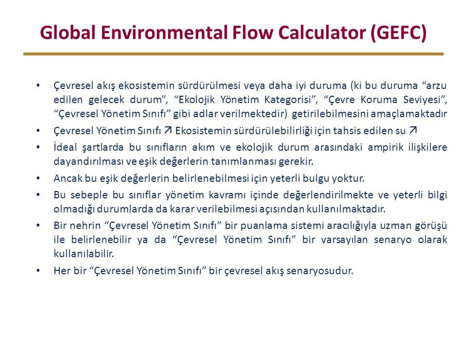 Global Environmental Flow Calculator (GEFC) Çevresel akış ekosistemin sürdürülmesi veya daha iyi duruma (ki bu duruma arzu edilen gelecek durum , Ekolojik Yönetim Kategorisi , Çevre Koruma Seviyesi , Çevresel Yönetim Sınıfı gibi adlar verilmektedir) getirilebilmesini amaçlamaktadır Çevresel Yönetim Sınıfı  Ekosistemin sürdürülebilirliği için tahsis edilen su  İdeal şartlarda bu sınıfların akım ve ekolojik durum arasındaki ampirik ilişkilere dayandırılması ve eşik değerlerin tanımlanması gerekir.