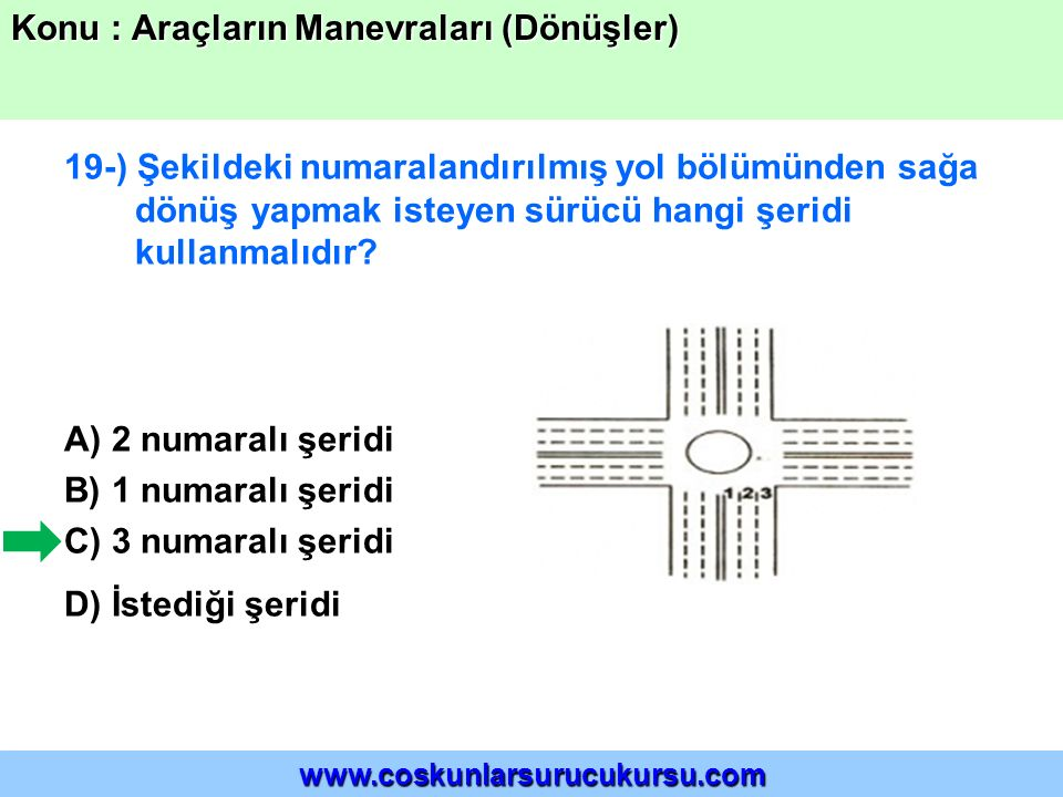 19-) Şekildeki numaralandırılmış yol bölümünden sağa dönüş yapmak isteyen sürücü hangi şeridi kullanmalıdır? A) 2 numaralı şeridi B) 1 numaralı şeridi