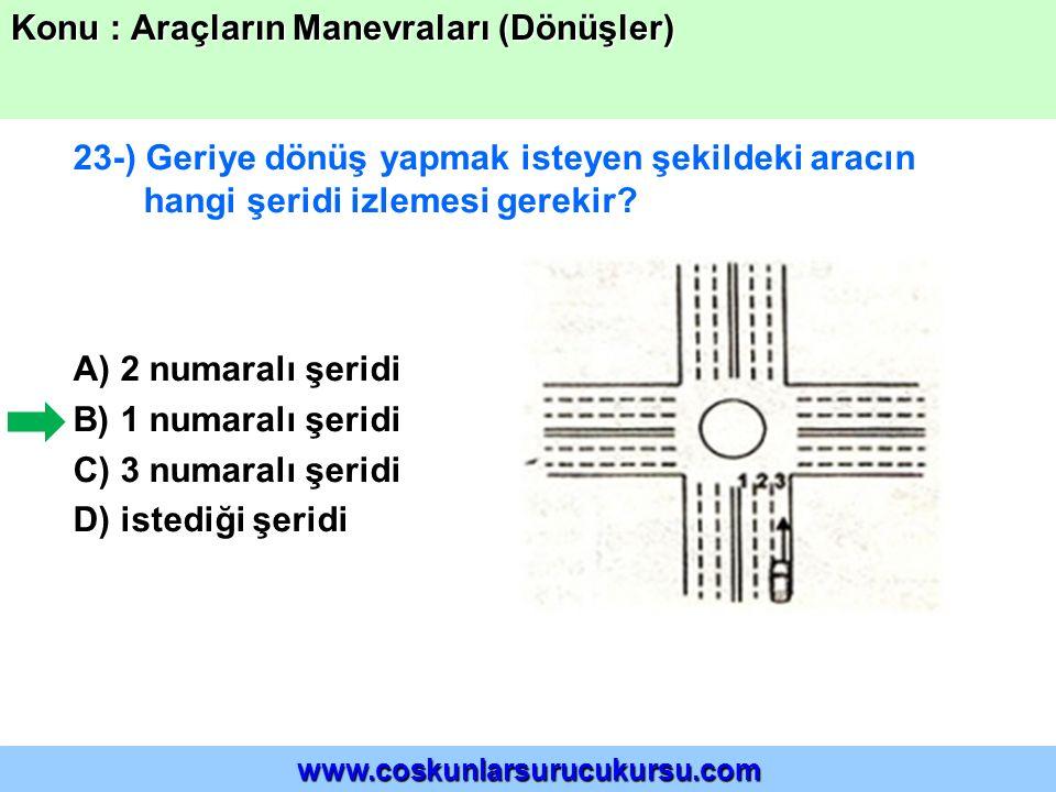 23-) Geriye dönüş yapmak isteyen şekildeki aracın hangi şeridi izlemesi gerekir? A) 2 numaralı şeridi B) 1 numaralı şeridi C) 3 numaralı şeridi D) ist