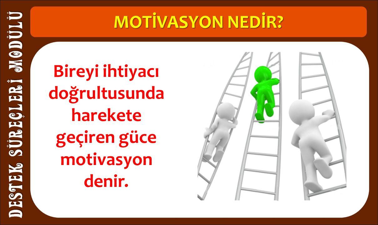 MOTİVASYON NEDİR Bireyi ihtiyacı doğrultusunda harekete geçiren güce motivasyon denir.