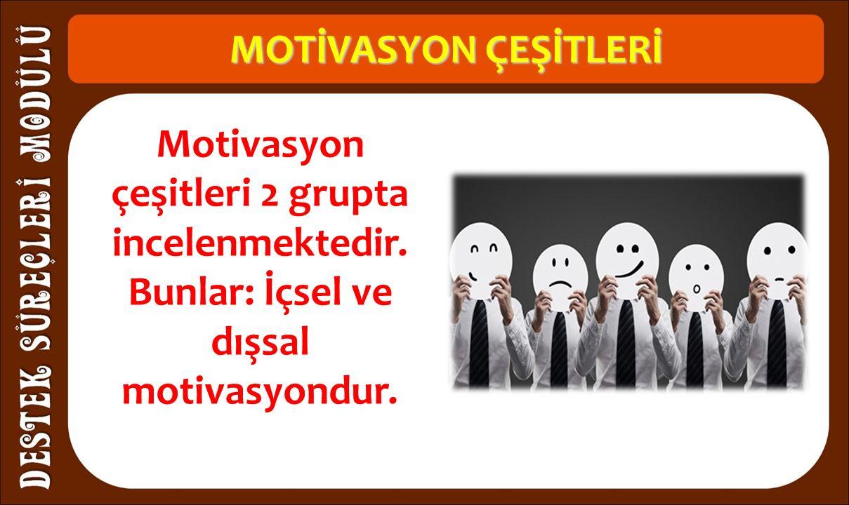 MOTİVASYON ÇEŞİTLERİ Motivasyon çeşitleri 2 grupta incelenmektedir.
