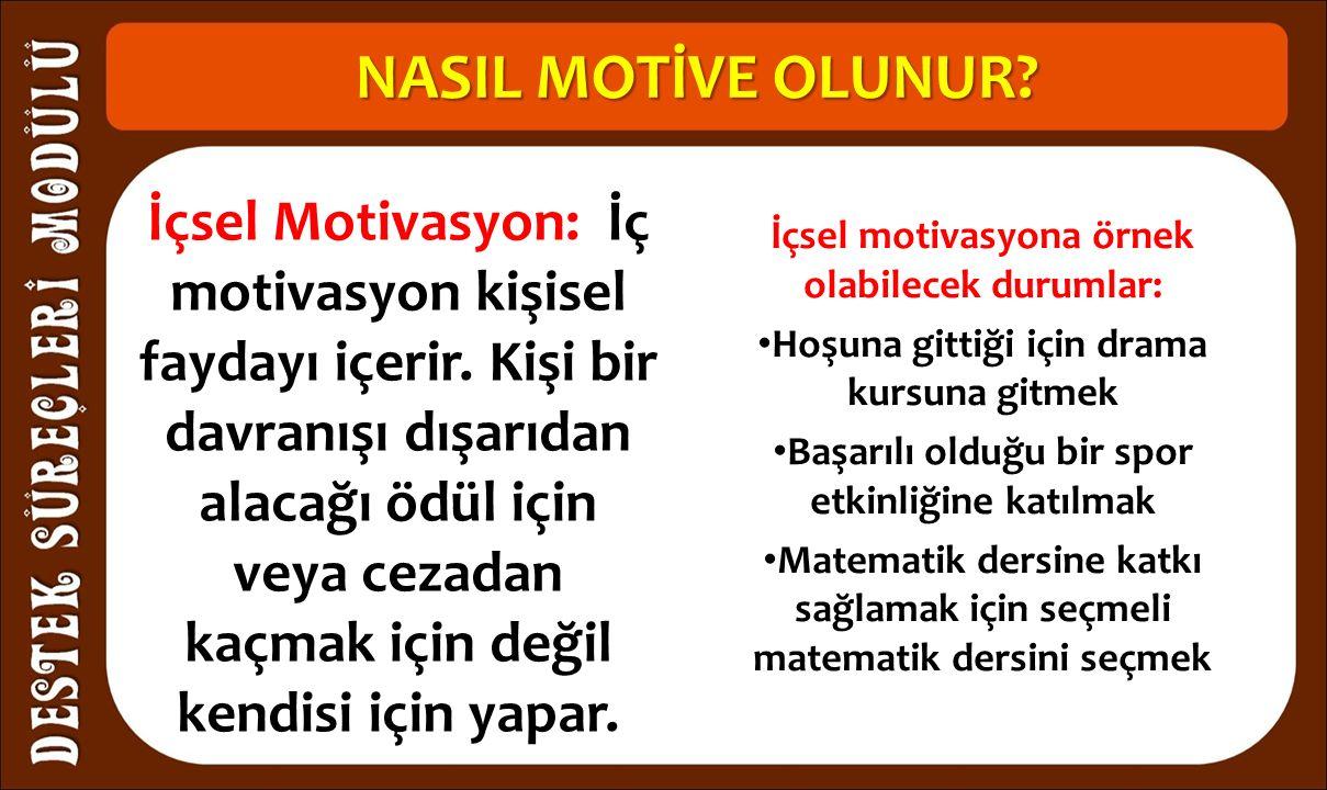 NASIL MOTİVE OLUNUR. İçsel Motivasyon: İç motivasyon kişisel faydayı içerir.